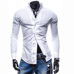 NOVO 2018 Primavera Moda Outono sólida stand-up colarinho Slim Fit casuais mens casamento roupas Tuxedo Shirts