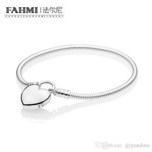 HYWo 100% 925 Sterling Silver Charming New 2019 Valentine's Day 597806 MOMENTS Smooth Bracelet with Love Padlock Gift