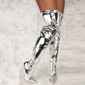 Talones mujeres Botas Plataforma espejo puntiaguda Toe punk alta delgada sobre la rodilla botas largas otoño invierno Postal de plata de los zapatos ocasionales del partido