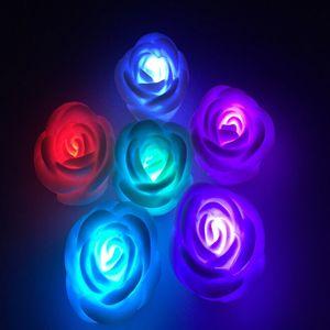 장미 꽃 LED 빛 밤 7 색 로맨틱 캔들 라이트 램프 높은 품질 축제 파티 장식 조명 교체