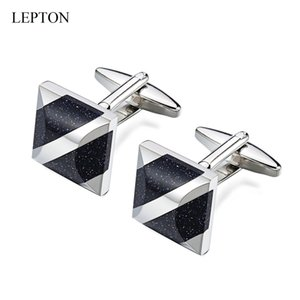 Lepton discreto Star Stone Gemelos de enlaces Camisa para hombre Marca puños de la mancuerna de alta calidad Blue Square Cuff Arenisca