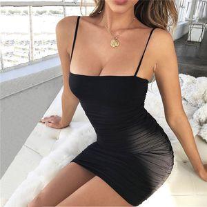 Nueva ropa de las mujeres sin mangas Sexy Sling Dress Color sólido Sexy Hip Wrap Vestidos Diseñador Vestido de fiesta Mini vestido Sexy Club Vestidos