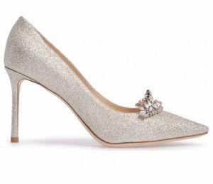 Piel banquete de la boda tacones altos de las mujeres el envío libre, oro blanco brillante de partículas rostro afilado Pegajoso zapatos, tamaño: 34-39, blanca