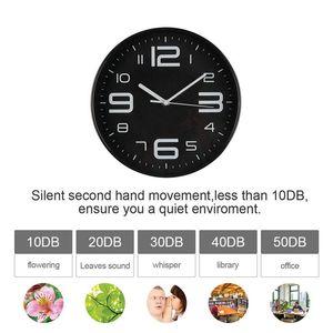 Indoor Big Silent Wall Nombre 3D Horloge Quiet balayage Mouvement mur Horloges à piles 10 pouces Profil Noir