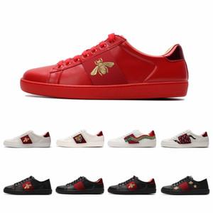 Avec la boîte de qualité supérieure Hommes Femmes Chaussures Chaussures Mode Casual Chaussures lacées Vert bande rouge en cuir noir brodé d'abeille Taille 36-45