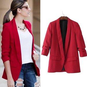Queechalle 2019 Primavera Red Outono Jacket Blazer Mulheres dobrado luva entalhado Office Lady Suit Brasão Feminino Sólidos Casacos Casual