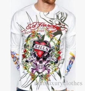 Марка Mens COOL Tshirts весна осень основывая ED Rhinestone конструктора Цветочный печати Топы с длинными рукавами HAR DY