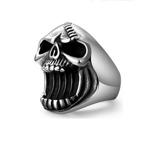 Men Beer Bottle Opener Fashion Jewelry Skull Rings Gothic Punk Male Vintage Scar Jaw Unique Ring For