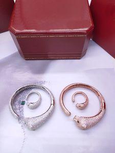 유럽 미국 레이디 황동 설정 전체 다이아몬드 녹색 지르콘 눈 레오파드 표범 18K 도금 골드 뱅글 팔찌 반지 보석 세트 3 색