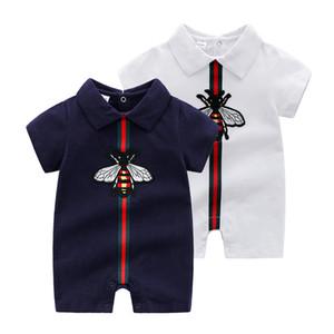 2019 été nouveau style manches courtes filles robe bébé barboteuse coton nouveau-né corps costume bébé pyjama garçons revers couleur unie barboteuses
