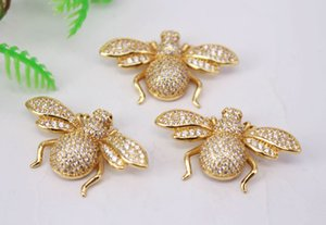 HOT 5Pcs 21x35mm Gold plated Bee shape Copper Metal White CZ  Zircon beads connector pendant   bracelet  necklace ,Jewelry Findings