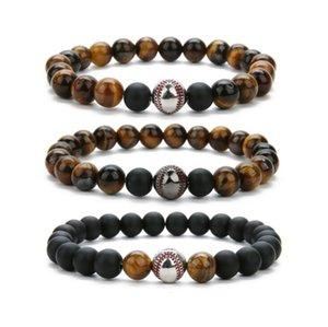 Natürliche Tiger Eye Baseball-Armband-Hand Korn-elastische Armband Baseball-Kugel-Charme Bracele 4 Arten freies Verschiffen