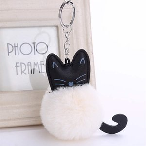 Милый котенок Hairball брелка брелоков Snow Мех Keyholder Rabbit Fur Ball Key Chain Black Cat Head Doll брелок для животных Горячие