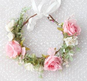 Girls flower crown hand made garlands kids simulation Rural flowers princess Wreath women bridals pageant beach headband V068