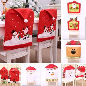 Christmas Chair Back Cover Decorazione per Babbo Natale Alce Renna Fiocco di neve a casa tavolo da pranzo Decorazione di feste Forniture HH7-1883