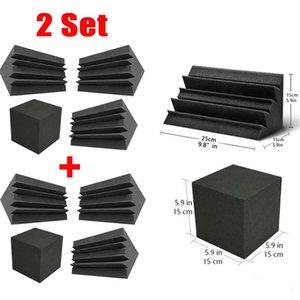 BEIYIN [ 2 set ] Medium Column Wedge Studio Accessorie Bass Trap Acoustic Foam Corner Block Finish Corner Wall [4pcs Set] 15x15