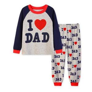 Yeni Drop Shipping Pamuk Çocuk Pijama I Love Baba Uzun Kollu Gece giyim Pijamas İçin Boy I Love Anne Giyim Setleri Sleeping