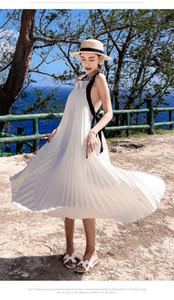 Abito da donna sexy in chiffon bianco allacciato con scollo incrociato senza schienale Halter Boho Abito lungo 2019 Abito estivo a pieghe con cinturino da spiaggia