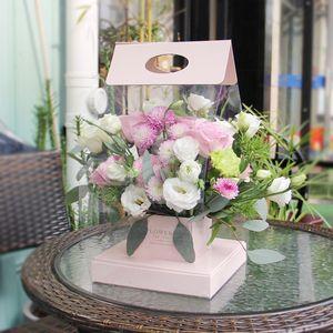 Şeffaf Temizle Çiçek Saplı Çanta ile Buket Hediye Kağıt Kutuları Düğün sevgililer Günü için