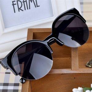High Quality 2020 New Fashion Retro Designer Super Round Circle Glasses Cat Eye Semi-Rimless Women's Sunglasses Glasses Goggles