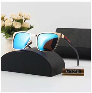 Goggle Mirror Lunettes de soleil de luxe Lunettes de soleil en verre pour hommes Lunettes Adumbral UV400 Marque P0120 6 couleur de haute qualité