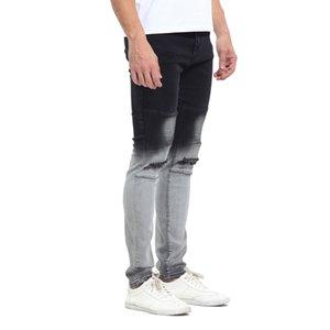 Gradatient Mens цвет Jeans Стильный конструктор Черный Белый цвет Лоскутная Омывается карандаш брюки джинсы