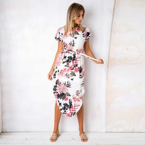 Abito di pizzo manica corta Tie Dress vita con scollo a V stampa floreale donne Midi Split vestiti dalle donne Abbigliamento Moda e abbigliamento volontà di sabbia
