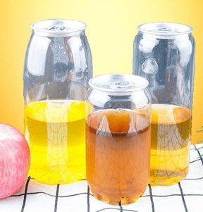 플라스틱 음료 병 팝 캔 350 ㎖ 500ML 650ML 링 풀 캔 라운드 물 병 일회용 식품 등급 PET 주스 컵 GGA3486-4