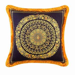 50CM LE VASE Medusa Baroque Pillow casesThrow Decorative Luxury Designer Velvet Thicken Tassel Pillow Case Royal Home Hotel Interiors
