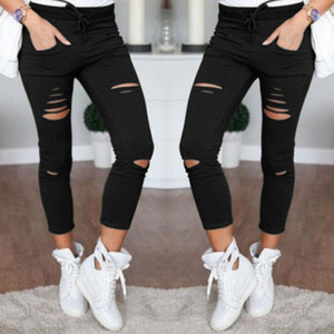 Women Slim Ripped Capris Fashion Hole Casual Cotton Nine Points Pencil Pants Female Skinny Pants with Elastic Waist