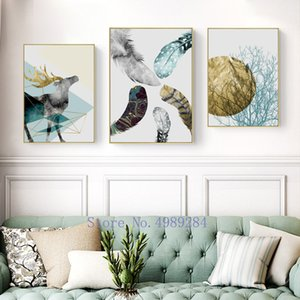 Nordic marble deer Picture frame Background wall decoration Photo frame feather Wall hanging Art paintings elk metal photo