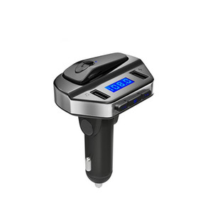 Bluetooth FM Transmitter In-ear Earphone Car MP3 Player FM Modulator Handsfree Dual USB 3.1A Quick Charger for iPhone X