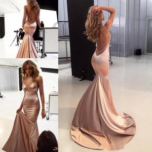 2020 Sexy Вечерние платья Спагетти Backless Поезд стреловидности Простой Mermaid Специальный Случай Red Carpet Пром платья Дешевые платья