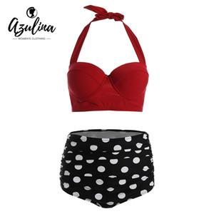 AZULINA Talla Extra Halter Bikini Retro Conjunto de cintura alta traje de baño Bikinis con aros Bikinis con aros Push Up traje de baño para mujeres