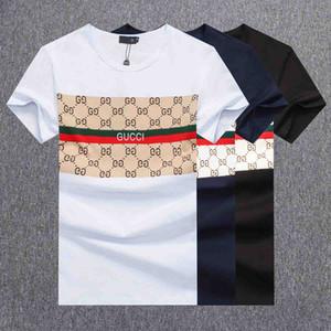 Джинсы мужских США полосатой футболки Летней мода Вышивка Дизайнер тройники короткий рукав Топы Одежда
