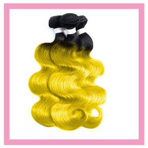 Brazilian Human Hair 1B Yellow Body Ombre Double Color Three Bundles 1b Yellow Double Wefts Virgin Hair Extensions Wholesale Silky Straight