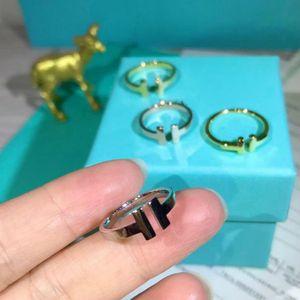 TFtiffany Wedding Designer dito banda amore anelli donne doppia coppie T lusso gioielli anello donna argento sterlina 925 con scatola originale logo