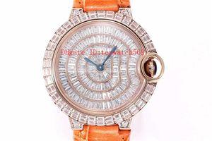 Top Ballon Bleu DE signora orologi donna vigilanza del diamante Quarzo svizzero Movimento completa Diamond Dial 18 carati cassa in oro rosa zaffiro Cinturino in pelle