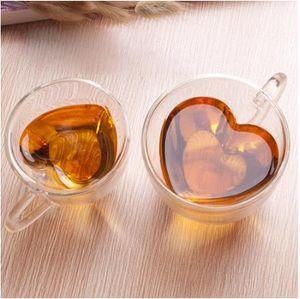 180 ml/240 ml corazón amor en forma de té taza de cerveza taza de jugo tazas de café taza de regalo de doble pared taza de vidrio resistente al calor Drinkware