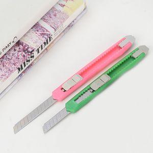 Solide Couleur Mini Portable Utilitaire Couteau Coupeurs de papier massicots rasoir école Lame Accueil Stationery Office Supplies Art Artisanat BH2522 CY