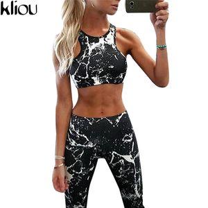 Kliou 2017 New Sweat Suit Women Tracksuit Set Ink Painting Printed Fitness Set Sportswear Leggings Tight Jumpsuits Sportwear Clothing
