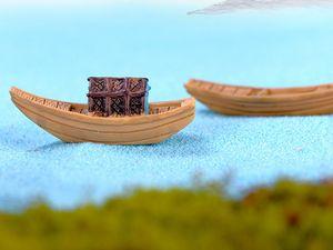 Micro paesaggio modello creativo casa artigianato fai da te in resina regalo piccoli ornamenti barca da pesca tenda da sole
