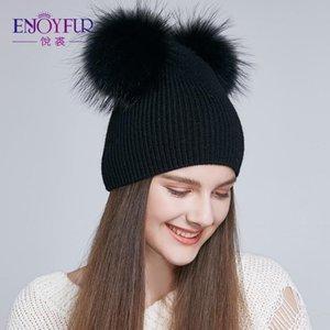 ENJOYFUR suave de las mujeres Sombreros de invierno Doble Piel real Pompón Gorros caliente lindo niñas Cap 2018 nueva llegada