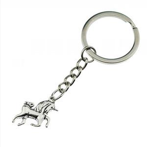 Moda Antik Gümüş sevimli küçük Unicorn at Kolye Anahtarlık hediyeler için kadın Unicorn anahtar zincirleri yüzük Parti benzersiz Takı 829
