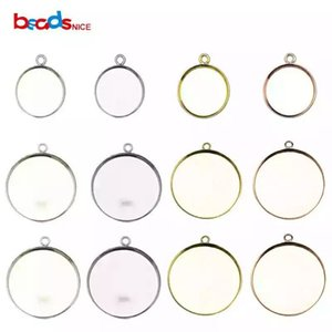 Beadsnice 925 Sterling Silver Pendant Round Base Wholesale Bezel Pendant Settings Blank for DIY Jewelry Making ID27622