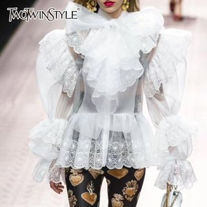 TWOTWINSTYLE Elegant Womens Shirts Blouse Bowknot Puff Long Sleeve Patchwork Lace Embroidery Hem Tops Female 2019 Spring New T5190615