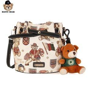 Danny Series Bear Feminino Hangbag Tecido Vintage material Mulheres Crossbody Shoulder Bag DMB9115053