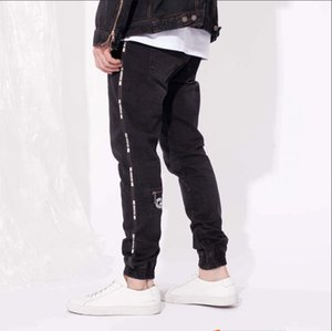 High Street Spring Sports Herren Designer Jeans Schwarz Reißverschluss Design Stylish Cool Pencil Pants Lange Hose
