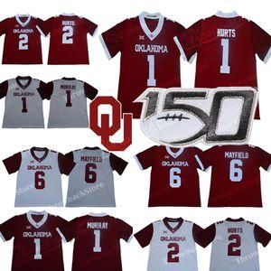 # 1 Jalen Hurts Oklahoma Sooners Jersey Murray Baker Mayfleld Adrian Peterson Samaje Perine NCAA College Football stampa Style Maglie