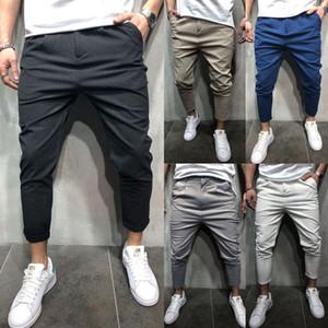 Chegada Nova Men Vogue Calças Lápis Calças Harem sólidos Homem Zip bolsos Slim Fit Hetero Calças Leg Casual Jogger Carga